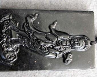 Natural Stone Tibet Kwan-Yin Guanyin Ru-Yi Amulet Pendant 52mm x 30mm  TH093