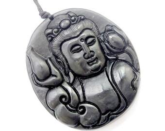 Natural Stone Buddhist Kwan-Yin Guanyin Flower Amulet Pendant 49mm x 42mm  TH153