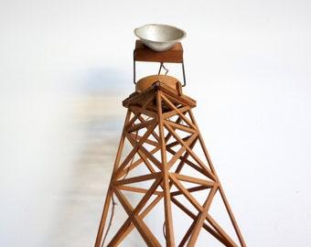 Antique Handmade Train Set Light Tower