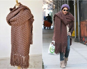 Oversized Knit Scarf, Extra Wide Chunky Scarf With Tassels, Lenny Kravitz Scarf, Super Scarf, Mens Street Fashion
