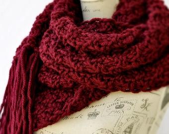 Super Scarf, Oversized Burgundy Knit Scarf, Extra Wide Chunky Scarf With Tassels, Mens Street Fashion, Lenny Kravitz Scarf, Blanket Scarf