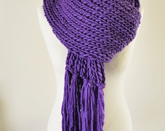 Chunky Knit - Hand Knit - Purple knitted scarf - Chunky knit scarf -  Long purple scarf -Pure wool scarf - Extra long scarf
