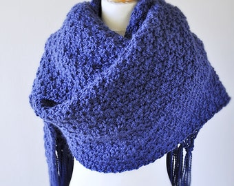 Royal Blue Oversized Alpaca Knit Scarf - Wrap Scarf - Super Wide Scarf - Lenny Kravitz Scarf