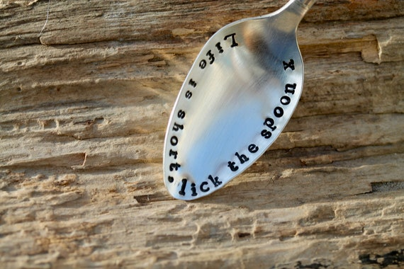 vintage spoon lick the spoon x Life is short gift boxed birthday gift motivation gift gift under 15 Stamped spoon quote spoon