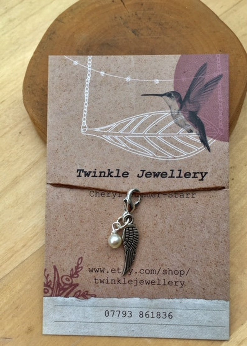 stocking filler for her zipper purse Clip on charm Curved feather with Amazonite drop detail by Twinkle Jewellery journal charm