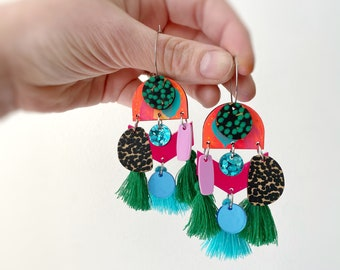 Green Tassel Boho Statement Earrings Hoops Colourful Deluxe Earrings with Acrylic Leather Bamboo Charms by Oscar and Matilda