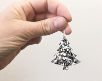 Silver Glitter Christmas Tree Earrings Acrylic Earrings Hoop Christmas Earrings Holiday Tree Womens Gifts  by Oscar and Matilda