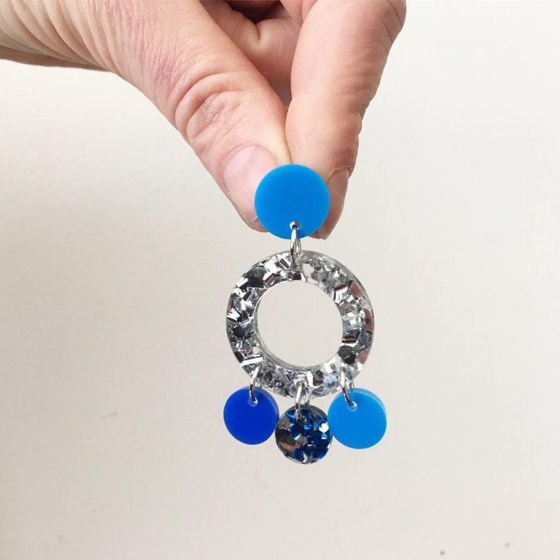 Blue Silver Glitter Boho Gypsy Tassel Acrylic Statement Colourful Earrings Laser Cut by Oscar and Matilda