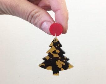 Leopard Print Christmas Tree Earrings Christmas Earrings Dangles .  Acrylic Earrings Australia Christmas Gift  by Oscar and Matilda
