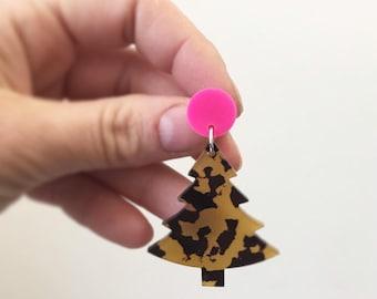 Leopard Print Earrings Christmas Dangle Earrings  Festive Earrings  Acrylic Earrings Christmas Tree Earrings Animal Print by Oscar & Matilda