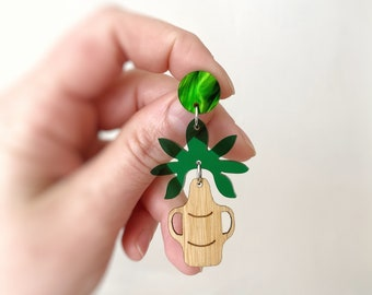 Womens Statement Acrylic Earrings Studs Greek Vase Monstera Plant Leafy Earrings Stainless Steel Handmade By Oscar & Matilda