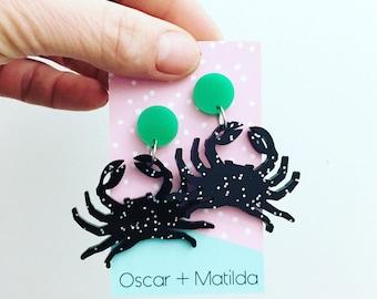 Acrylic Earrings Statement Earrings Drop Earrings Dangle Big Colourful EarringsBlack Glitter Crab Laser Cut Earrings Oscar and Matilda
