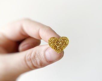 Girls Glitter Acrylic Love Heart Valentines Statement Stud Earrings by Oscar and Matilda