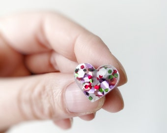 Girls Rainbow Glitter Acrylic Love Heart Valentines Statement Stud Earrings by Oscar and Matilda