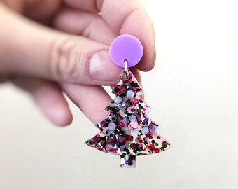 Christmas Tree Festive Earrings Statement Christmas Earrings .  Rainbow Glitter Laser Cut Acrylic Christmas Studs by Oscar and Matilda