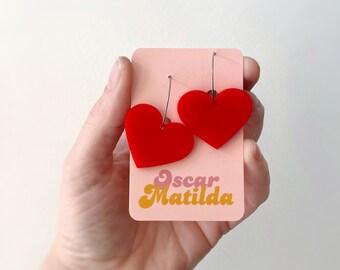 Womens Love Hearts Earrings Red Earrings Statement Earrings Hoops Acrylic Earrings Laser Cut Hoops 25mm by Oscar and Matilda