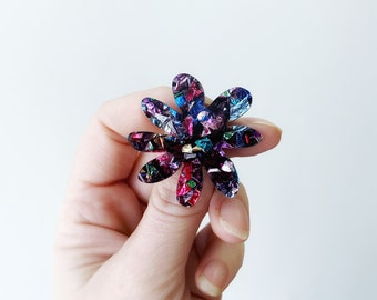 Flower Earrings Daisy Studs Rainbow Glitter Acrylic Earrings Statement Plant Polli MIDI Studs by Oscar and Matilda