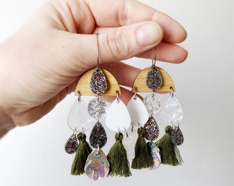 Acrylic Boho Hoop Earrings Drop and Dangle Layered Tassel Earrings with Leather & Bamboo charms OLI by Oscar and Matilda