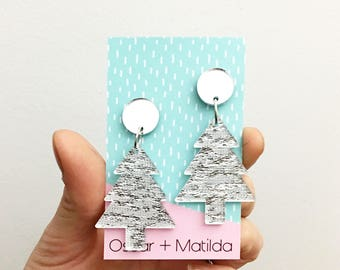Christmas Tree Acrylic Statement Drop Dangle Earrings Xmas Accessories .  Glitter Silver and Mirror Acrylic Earrings by Oscar & Matilda
