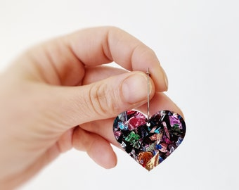Heart Earrings Rockabilly Earrings Statement Acrylic Laser Cut Rainbow Glitter Love Heart Hoop Earrings 25mm by Oscar and Matilda