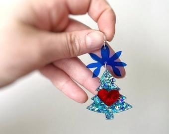 Folk Festive Christmas Tree Earrings in Blue Glitter Acrylic with Surgical Steel Hooks by Oscar & Matilda