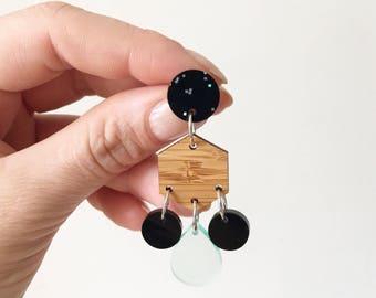 Boho Earrings Tassel Earrings Acrylic Earrings Extra Long Earrings Bamboo Statement Earrings Large Earrings Oscar and Matilda