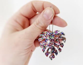 Monstera leaf Statement Acrylic Hoop Rainbow Glitter Plant Lovers MIDDY SIZE Earrings by Oscar & Matilda