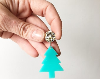 Christmas Tree Earring Dangles Xmas Tree Accessories Aqua Tree Silver/Gold Glitter Stud Acrylic Earrings Oscar and Matilda Gift for Her