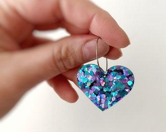 Womens Love Heart Earrings Hoops Purple & Aqua Glitter Statement Earrings Stainless Steel Hoops 25mm by Oscar and Matilda