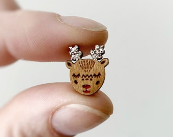 Rudolf The Red Nose Reindeer Earrings Studs Silver Christmas Earrings Wooden Studs by Oscar and Matilda