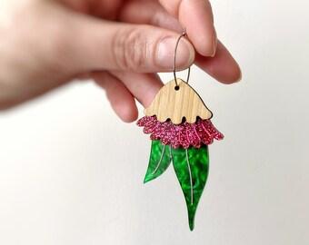 Deep Pink Australian Gum Nut Blossom Hoop Earrings in a mix of Acrylics & Bamboo Gumnut  Earrings by Oscar and Matilda.