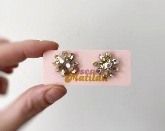 Gold & Silver Glitter Flower Earrings Plant Studs Acrylic Statement Size Studs Mini Polli Glitter -  by Oscar and Matilda