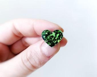 Heart Earrings Acrylic Glitter Green Heart  Statement Stud Earrings by Oscar and Matilda