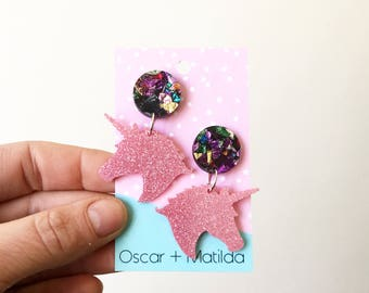 Pink Glitter Unicorns with Chunky Multi Glitter Acrylic Stud Laser Cut Dangles by Oscar & Matilda