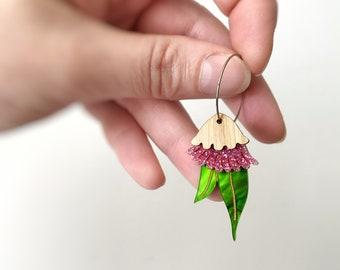Mini Australian Gum Nut Blossom Pink Hoop Earrings in a mix of Acrylics & Bamboo Gumnut  Earrings by Oscar and Matilda.