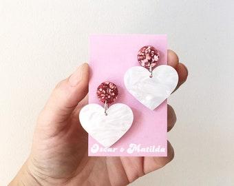 Valentines Acrylic Earrings Statement Rockabilly Love Heart Earrings by Oscar & Matilda