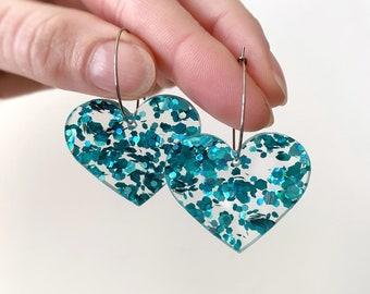 Womens Love Heart Earrings Hoops Aqua Glitter Statement Earrings Stainless Steel Hoops 25mm by Oscar and Matilda