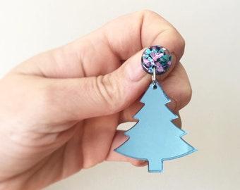 Blue Mirror Christmas Earrings Sapphire Christmas Tree Earrings. Christmas Statement Earrings Laser Cut by Oscar and Matilda