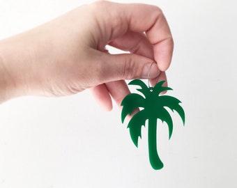 Tropical Palm Tree Acrylic Hoop Laser Cut Earrings by Oscar & Matilda