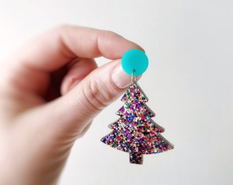 Aqua & Rainbow Christmas Tree Earrings Dangles Confetti Glitter Earrings Christmas Studs Acrylic Earring Studs by Oscar and Matilda