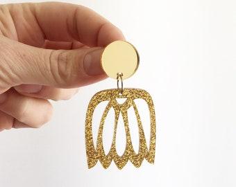 Statement Earrings Monstera Earrings Extra long Earrings Monstera Leaf Banana Leaf Earrings  Acrylic Earrings Monstera Palm Oscar and Matild