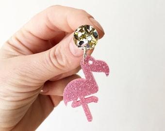 Pink & Gold Glitter Acrylic Laser Cut Flamingos Earrings Long Statement Hanging Bird Dangle Earrings by Oscar and Matilda
