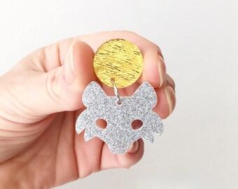 Fox Earrings - Acrylic Earrings - Fox - Glitter Acrylic - Hanging Earrings - Oscar and Matilda - Women's Stud Earrings - Laser Cut Earrings