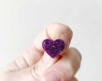 Love Heart Stud Girls Glitter Acrylic Valentines Statement Stud Earrings by Oscar and Matilda