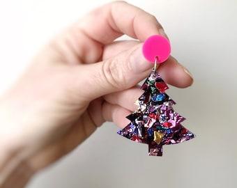 Christmas Tree Earrings Statement Acrylic Earrings Rainbow Glitter & Hot Pink Laser Cut Christmas Studs by Oscar and Matilda