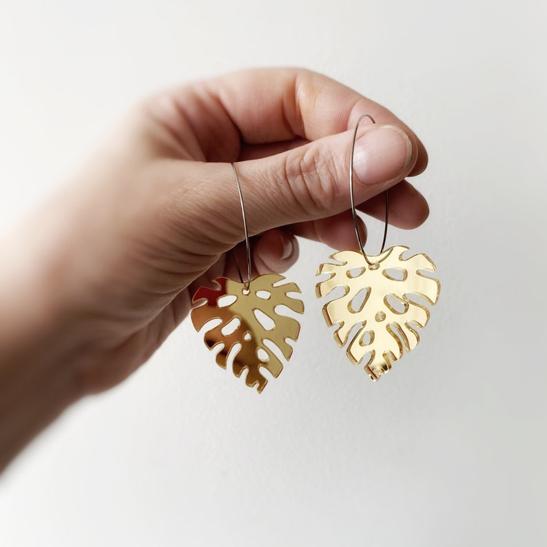 Womens Monstera Earrings Gold Mirror Acrylic Statement image 0