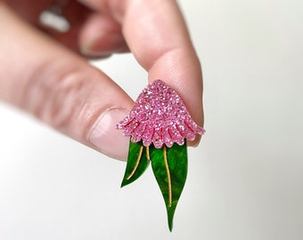 Mini Australian Gum Nut Blossom Pink Stud Earrings Pink Glitter Gumnut  Earrings by Oscar and Matilda.