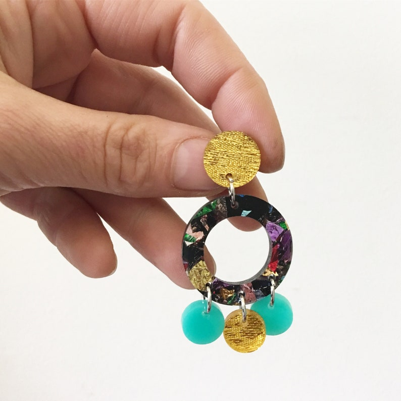 Round Boho Gypsy Tassel Acrylic Earrings Statement Colourful Glitter Earring Studs Laser Cut by Oscar and Matilda