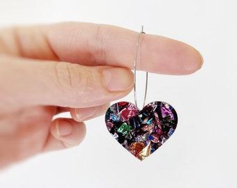 Heart Statement Stud Earrings Rockabilly Earrings Acrylic Laser Cut Rainbow Glitter Love Heart Hoop Earrings 40mm by Oscar and Matilda