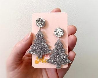 Australian Women's Christmas Tree Earrings Silver Glitter Christmas Earrings Holiday Earrings by Oscar and Matilda.